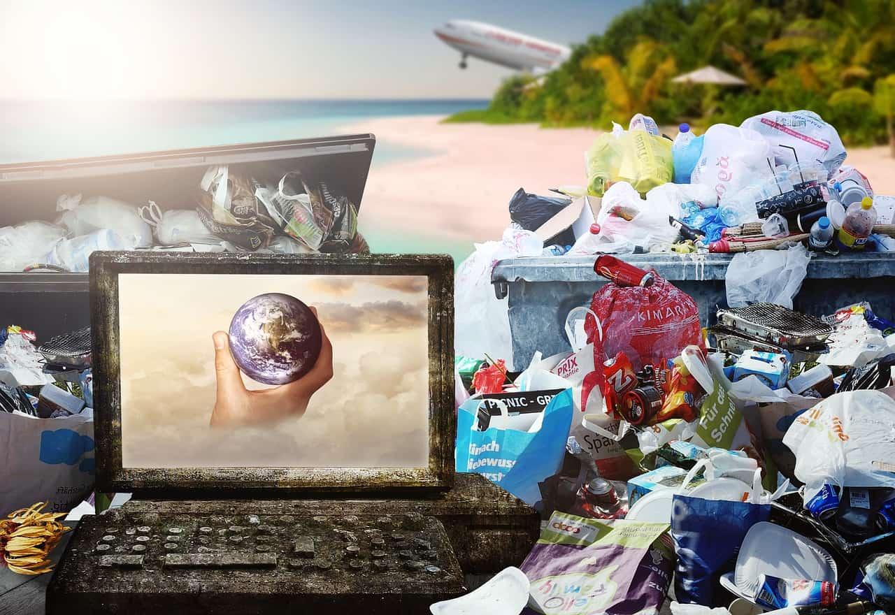 garbage, paradise, sun